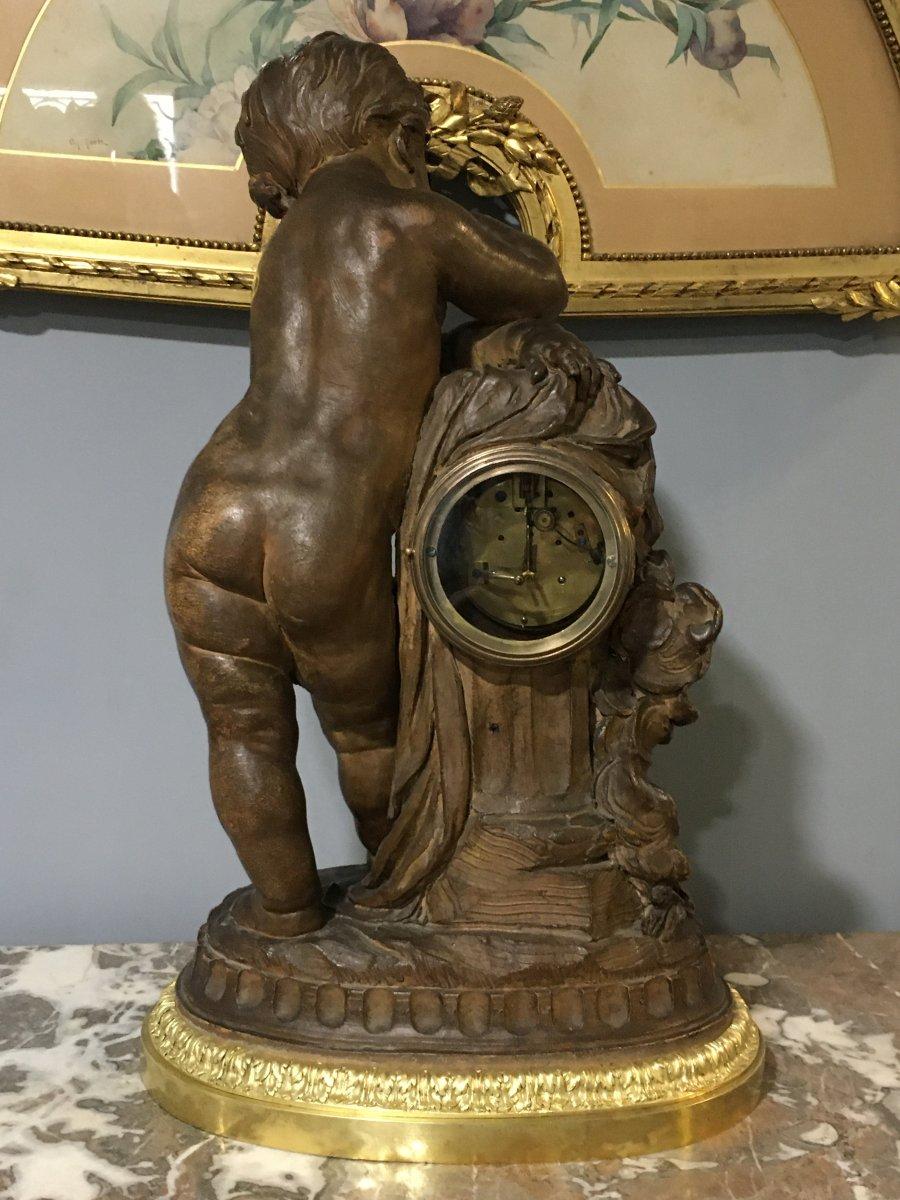 Pendulum Terracotta Putti Louis Sauvageau XIX Signed Bronze 58cm Balthazard-photo-5