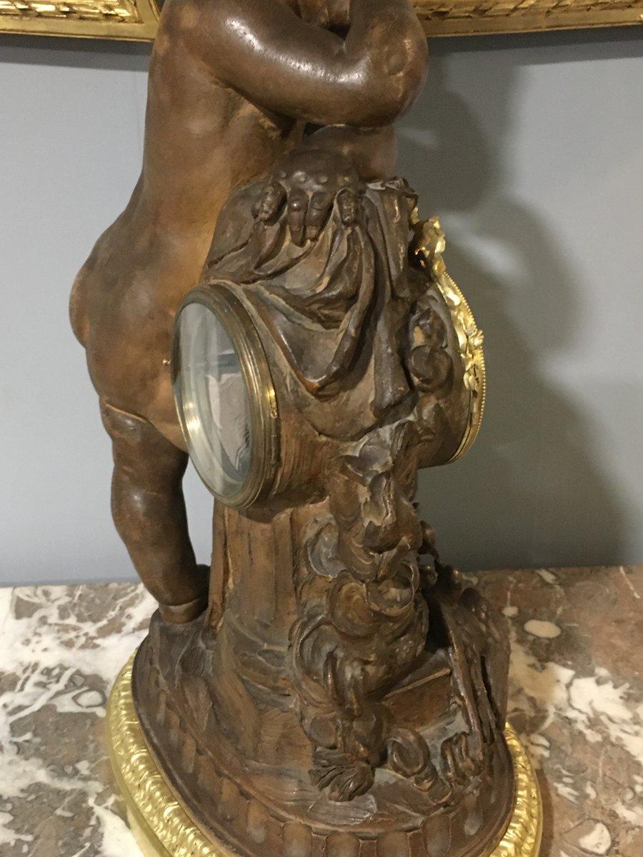 Pendulum Terracotta Putti Louis Sauvageau XIX Signed Bronze 58cm Balthazard-photo-6
