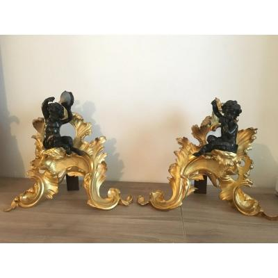 Pair Of Cherry Andirons Musician Gilt Bronze Double Patina Putti XIX