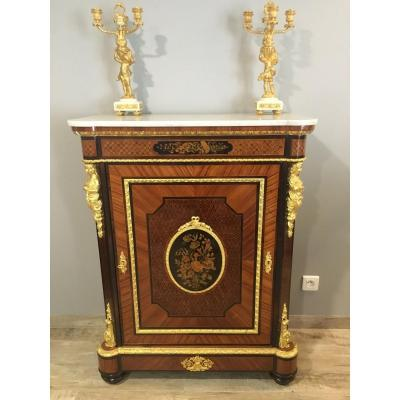 XIXth Gilt Bronze Marquetry Stand Nap Nap III Signed Vedder In Paris