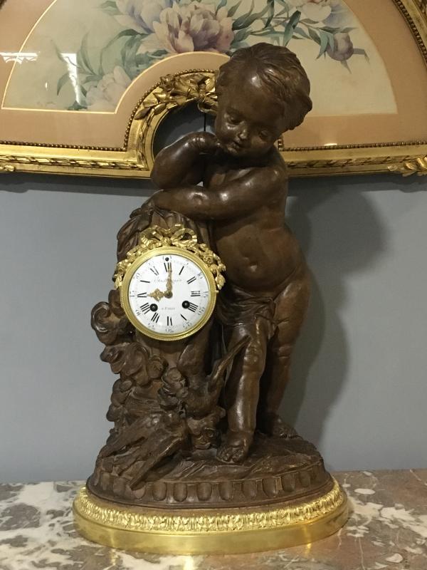 Pendulum Terracotta Putti Louis Sauvageau XIX Signed Bronze 58cm Balthazard-photo-4
