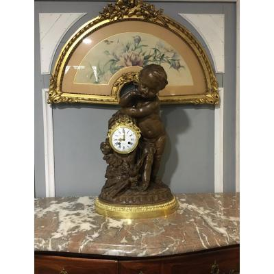 Pendulum Terracotta Putti Louis Sauvageau XIX Signed Bronze 58cm Balthazard
