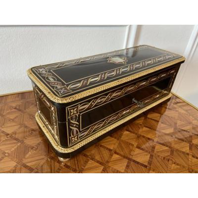 Full Face Marquetry Glove Box Box Gilt Bronze Napoleon III Period