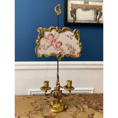 Nineteenth Gilt Bronze Rocaille Screen Lamp Circa 1880