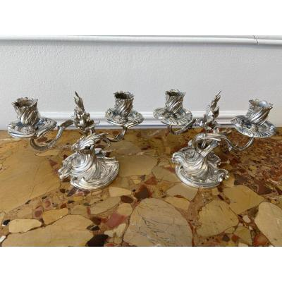 Pair Of Silver Bronze Table Candlesticks Boin Taburet XIX