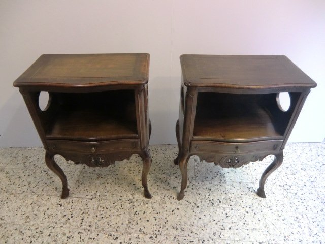 Pair Of Antique Walnut Bedside Louis XV Style Provencal