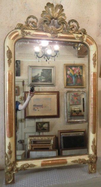 Gilt Stucco Pediment Mirror Period XIXth Century Louis-philippe Style