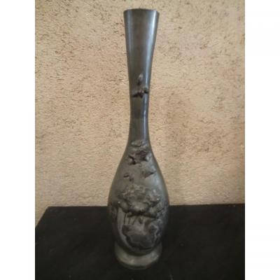Vase étain Art Nouveau Époque 1900 Signé Ermenault H : 50 Cm