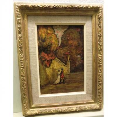 """Joseph Hurard (1887-1956) """"amoureux Dans Un Parc"""" Huile Sur Papier 25x17,5 Cm"""