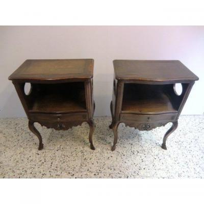 Paire De Chevets En Noyer anciens Style Louis XV Provençal