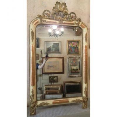 Gilt Stucco Pediment Mirror Period XIXth Century Louis-philippe Style