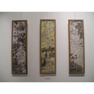 "AMBI Visual artist born in 1978 ""Métamérie I, II et III"" (Triptych) Burns and acrylic stencil on soga (Malagasy fabrics) 115 x 30 cm each Signed lower right Each piece of the triptych is framed www.ambiplasticienne.net"