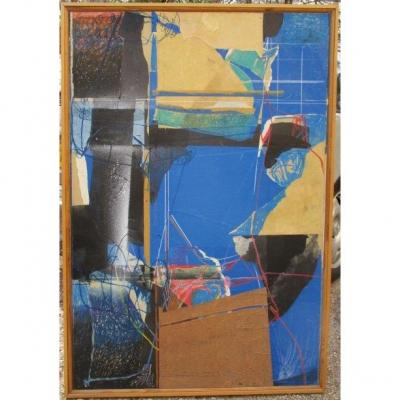 "SAMA born in 1953 in Phnom-Penh in Cambodia Graduated from the School of Fine Arts in Aix-en-Provence ""Composition"", 1994 Mixed technique (Collages, Sand, Oil pastels ...) on cardboard mounted on wood. 120 x 81 cm Signed with the artist's monogram and dated lower left Bibliography: Henri FEYT, SAMA, Edilex Club Editions, 1994."