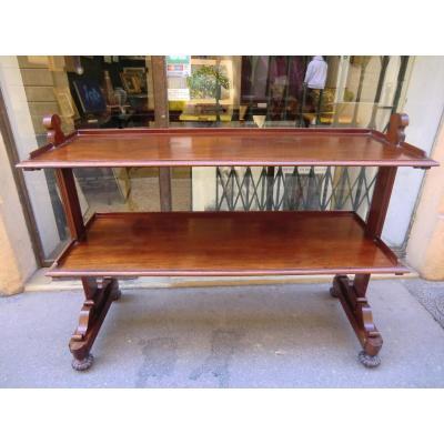 GRANDE DESSERTE Acajou Angleterre Époque XIX ème Style Victorien 112x145x50 cm