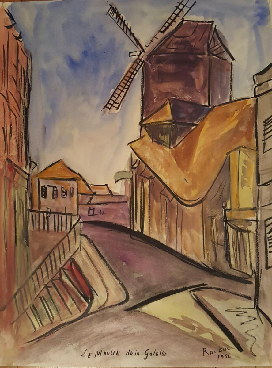 """Aquarelle """" Le Moulin de la Galette """" Roland Dubuc"""