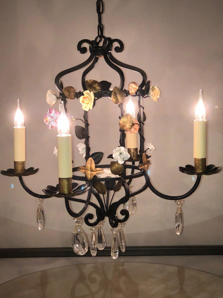 Wrought Iron Chandelier And Porcelain Flowers
