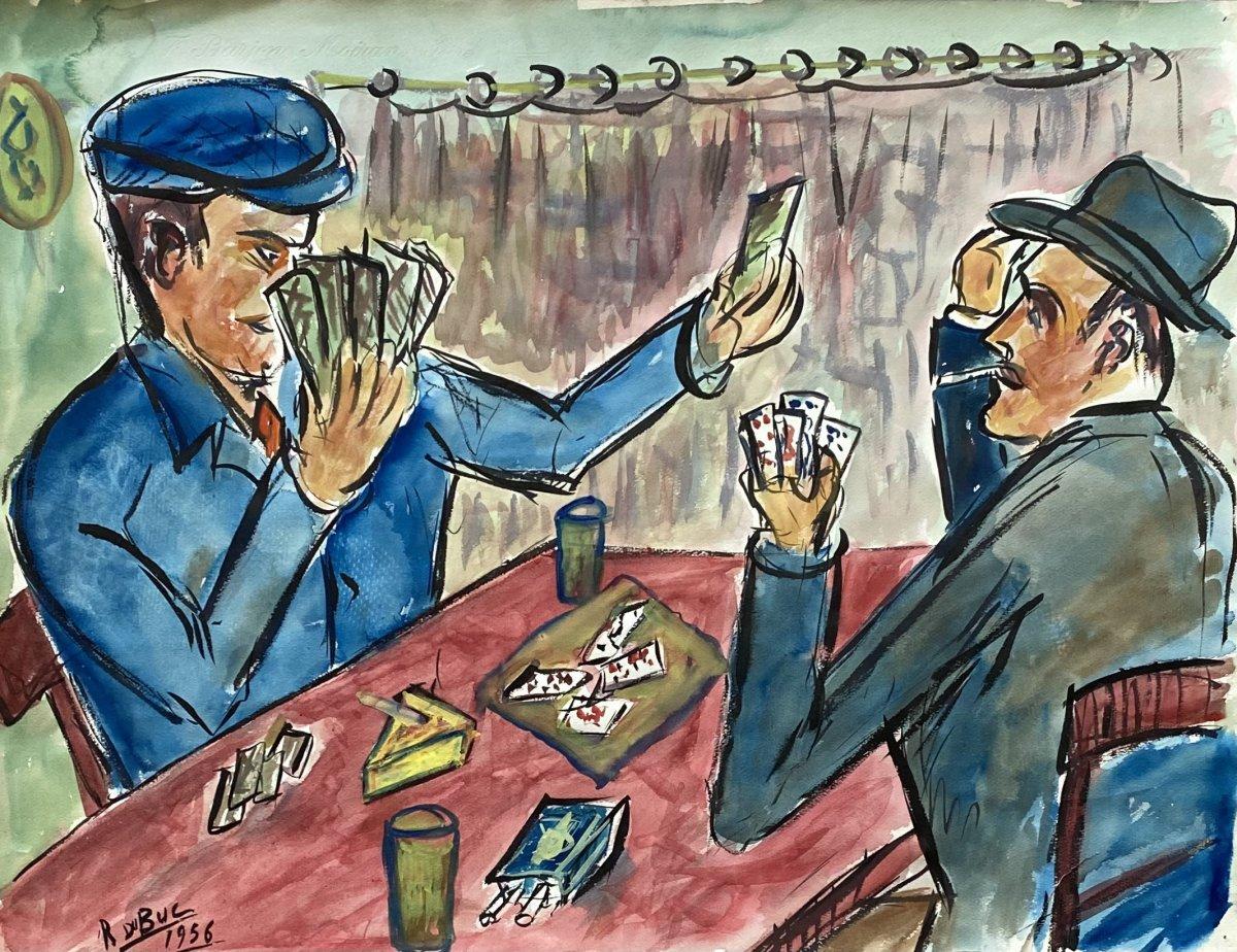 """Aquarelle """"Les joueurs de cartes"""" Roland Dubuc"""
