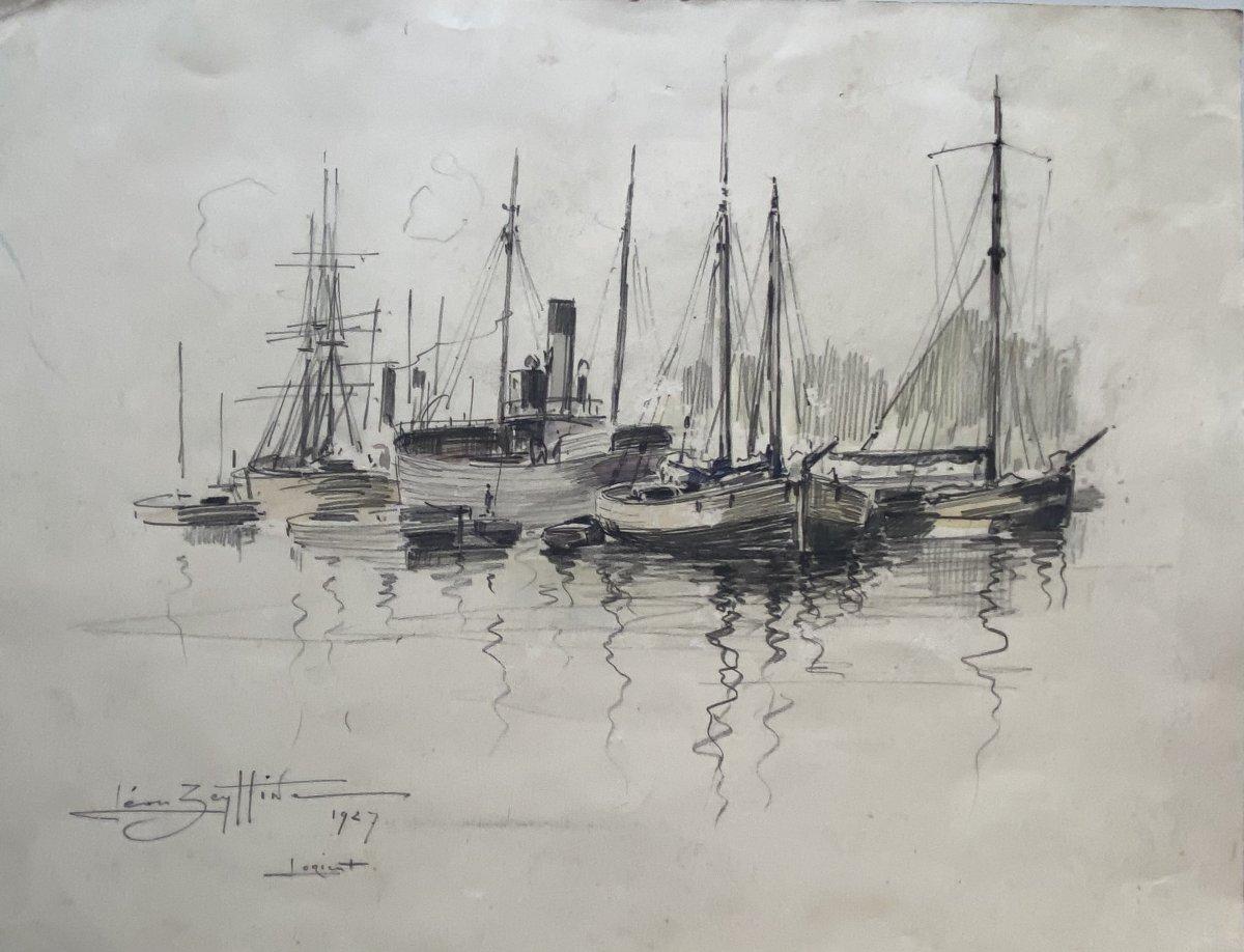 """Dessin aquarellé  """"Lorient 1927"""" Léon Zeytline"""