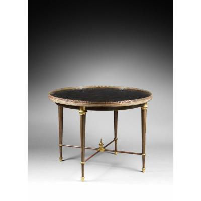 Table basse circulaire à galerie