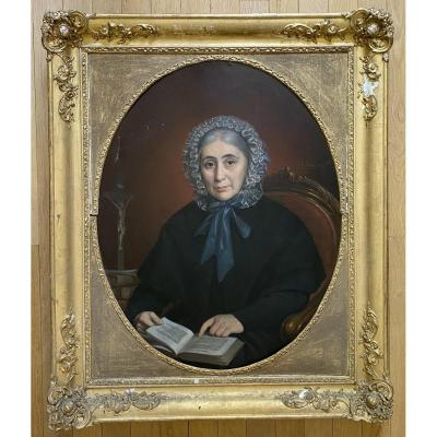 Oil Female Portrait Victor Pieters (1813-1894)