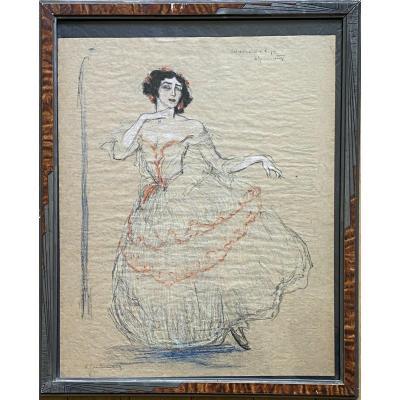 """Lithographie  Arthur Grünenberg. """"Tamara Kasarvina"""" danseuse."""
