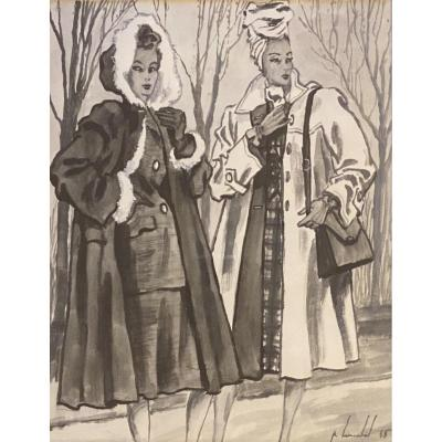 Fashion Drawing Pierre Louchel 1945