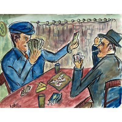 "Watercolor ""the Card Players"" Roland Dubuc"