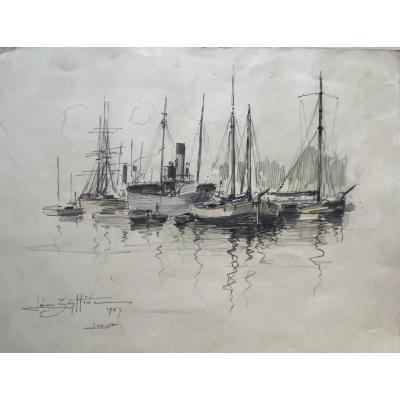 "Watercolor Drawing ""lorient 1927"" Léon Zeytline"
