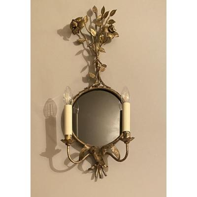 Mirror Wall Lamp With Floral Decoration
