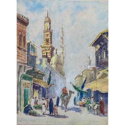 Pair Of Orientalist Watercolors