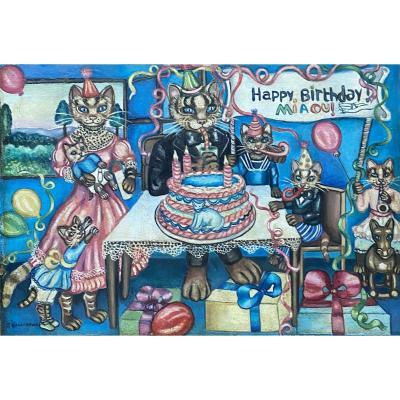 "Huile ""Happy Birthday Miaou"""