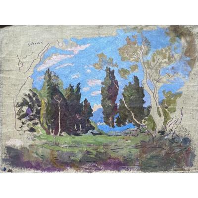 """Lot de 5 huiles """"Paysages"""" Raymond Verdun"""