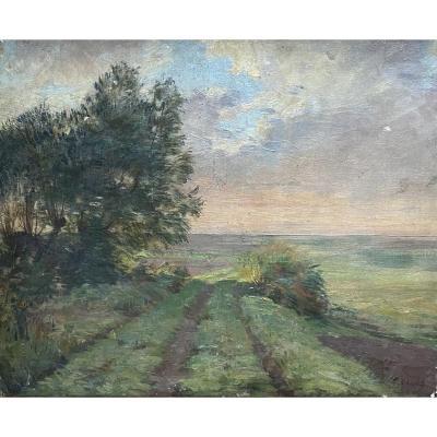 "Huile sur toile ""Chemin campagnard"" Ravier?"