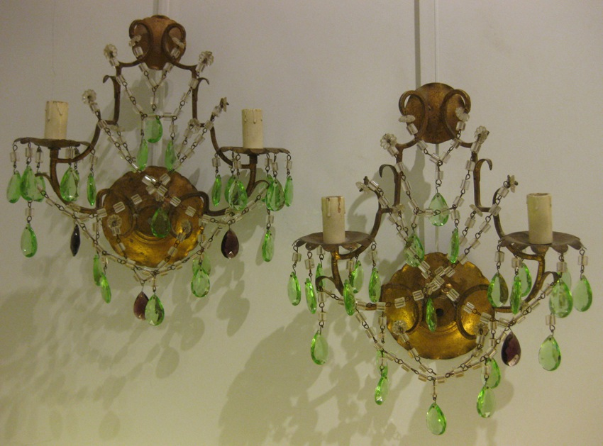 Wall Sconces With Green Pendants And Amethysts