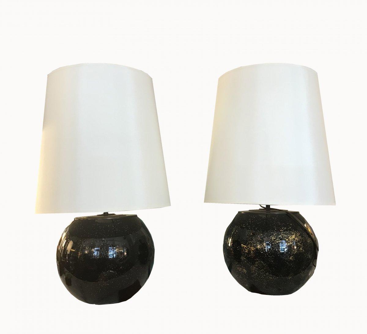 Paire De Lampes Boule Créations Mathias