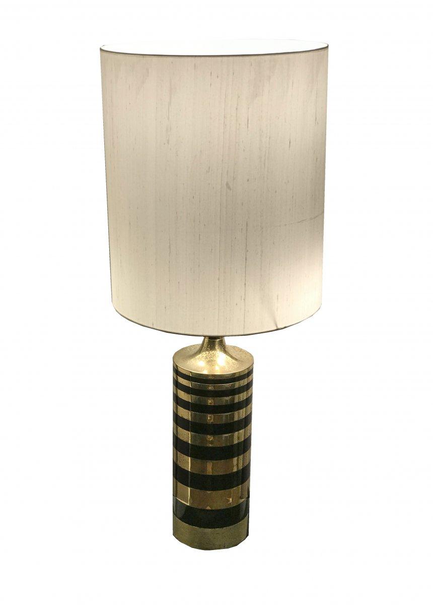 Lampe En Laiton Et Métal Laqué Noir Circa 1970
