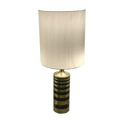 Lamp Brass And Metal Lacquered Black Circa 1970
