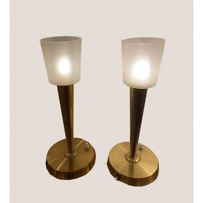 Pair Of Lamps Signed Perzel