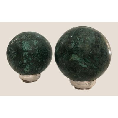 Pair Of Russian Malachite Balls