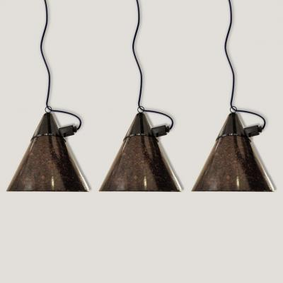 Suite Of Three Workshop Suspensions In Bakelite Signed Narva Artas Arnstadt-ddr, Circa 1950