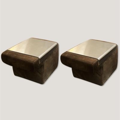 Pair Of Suede Bedside Tables With Removable Anodized Aluminum Tray, Circa 1970