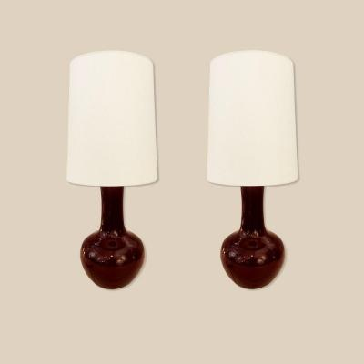 Pair Of Pol Chambost Lamps, Signed And Dated, 1979