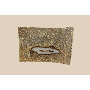 Lampe ou applique en bronze doré et agathe par Jacques d'Aubres