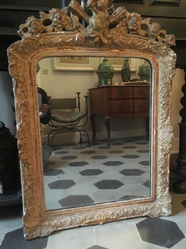 Miroir En Bois Doré époque XVII Eme