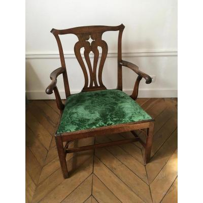 Important English Armchair In Natural Wood: Eighteenth Eme Time