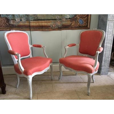 Pair Of Armchairs In Louis XV Cabriolet
