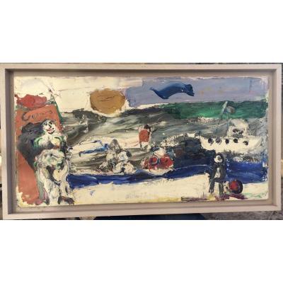 Bernard Damiano ( 1926-2000) . huile sur toile