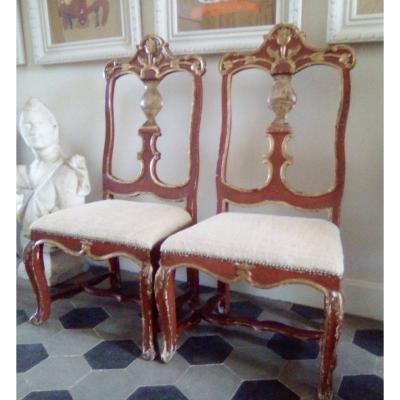 Pair Of Important Italian Or Spanish Painted Wooden Chairs