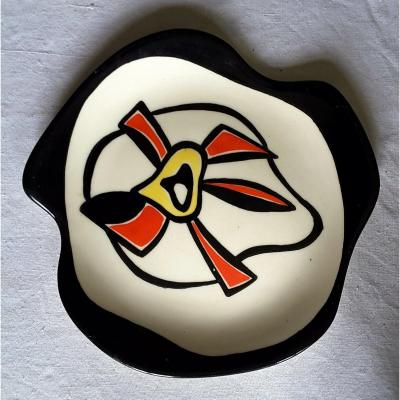 Roland Brice (1911-1989) Glazed Ceramic Plate With Abstract Decor