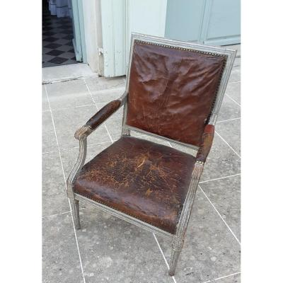 Louis XVI Period Lacquered Flat Back Armchair (stamp Mark)
